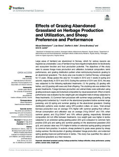Effects of Grazing Abandoned Grassland on Herbage Production